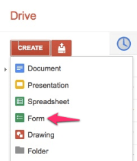 Create new google form
