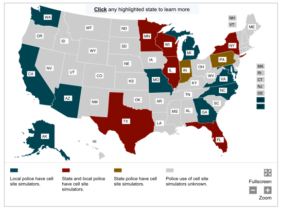 ACLU stingray map