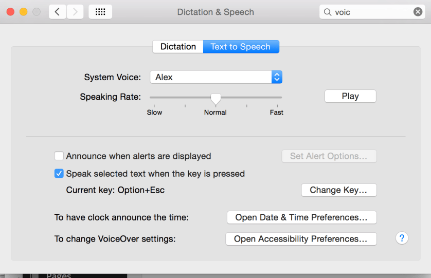 Dictation & Speech Preferences
