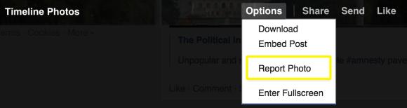 Facebook - report link