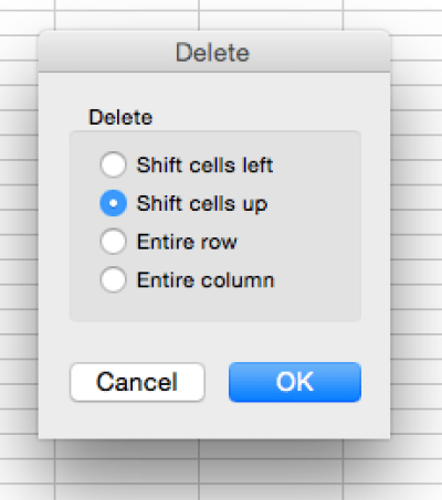 Excel - shift cells up