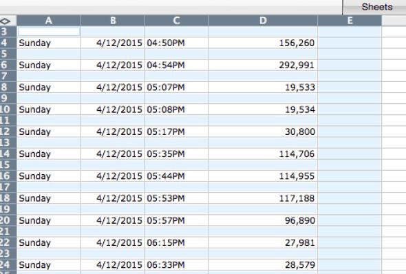Tip: delete blank rows in Excel, Mac Office 2008