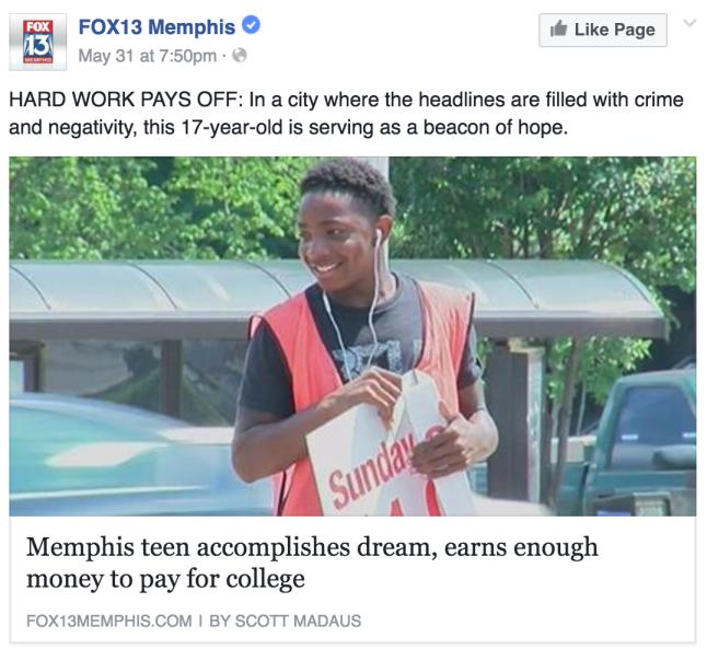 Memphis teen sells newspapers