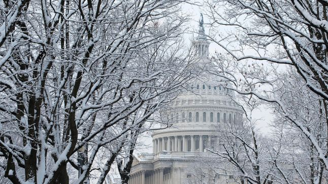 capitol building in snow