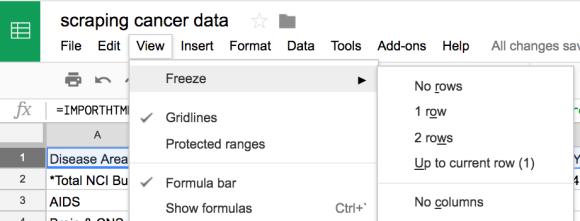 scrape data then freeze row google