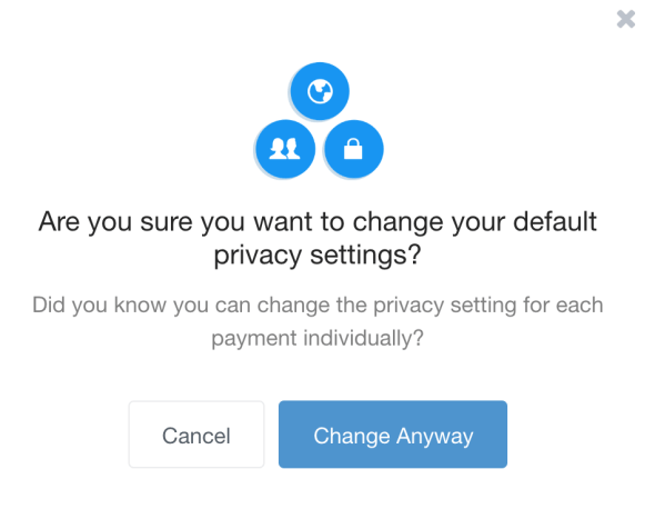 Venmo confirm privacy change