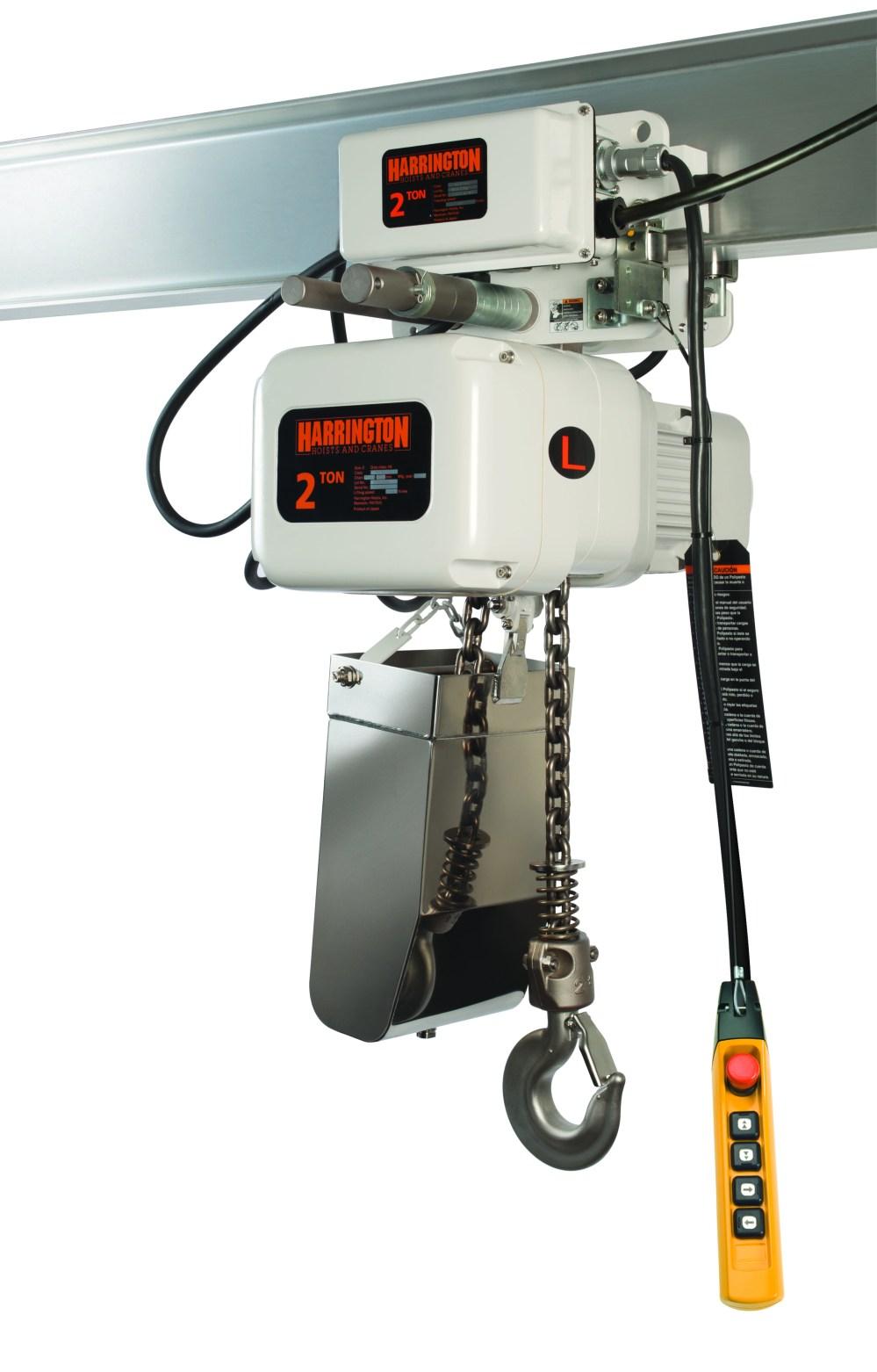 medium resolution of silo od 2 ton single speed hoist used for the food industry harrington hoists