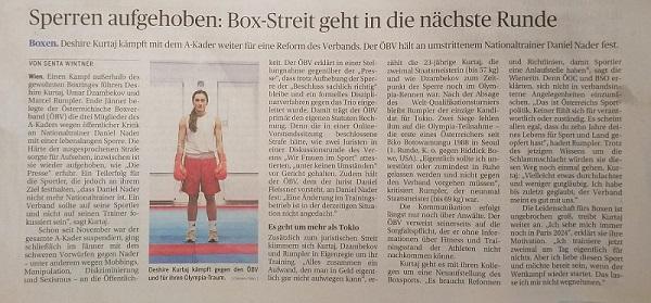 Aufhebung der lebenslangen Sperre im Boxverband Senta Wintner