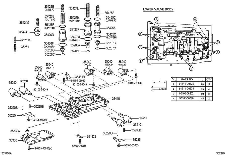 4l60e Valve Body Bolt Diagram