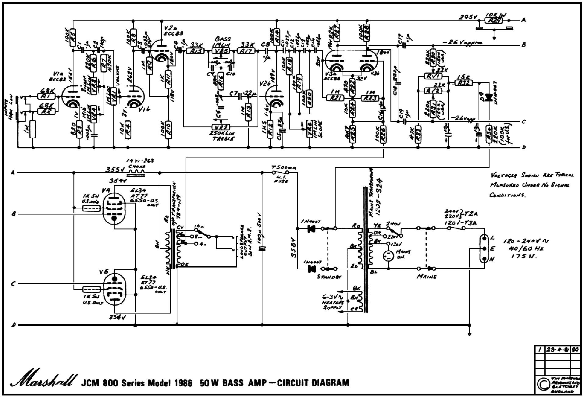 Marshall Jcm 800 Wiring Diagram Schematic