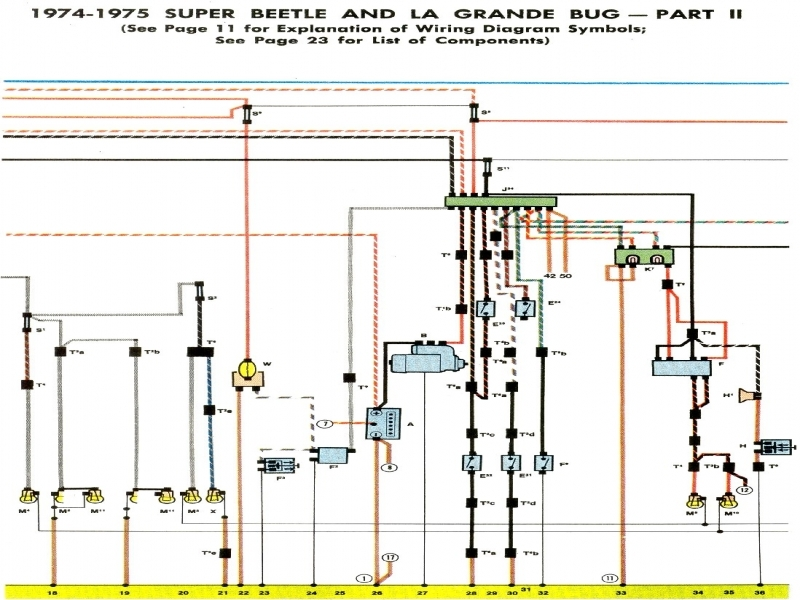 1974-75 Super Beetle Wiring Diagram