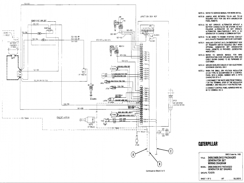 3406/3408/3412 Packaged Generator Set Wiring Diagram{1400