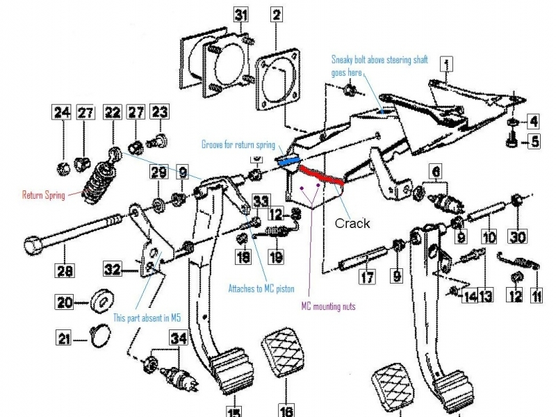 ford clutch master cylinder diagram