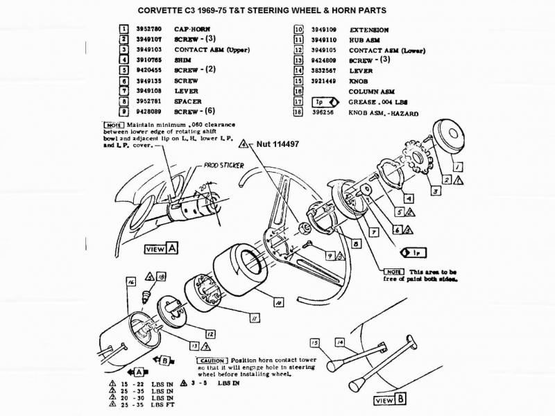 Exploded View For The 1976 Chevrolet Corvette Telescopic