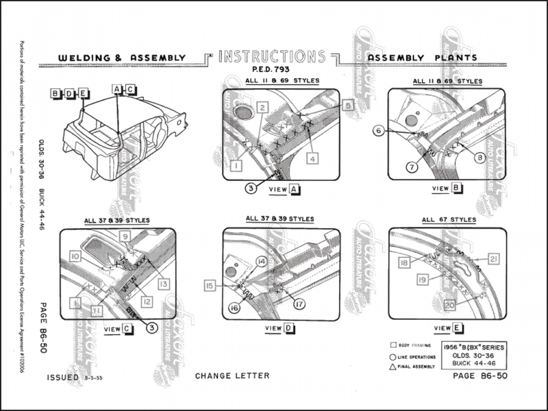 1956 Body Welding Assembly Manual Reprint Olds 88/98 Buick