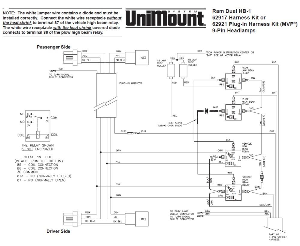 medium resolution of 62917 western unimount hb 1 headlight harness kit dodge ram 99 boss plow wiring diagram