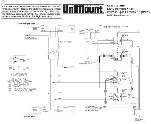 small resolution of 62917 western unimount hb 1 headlight harness kit dodge ram 99 boss plow wiring diagram