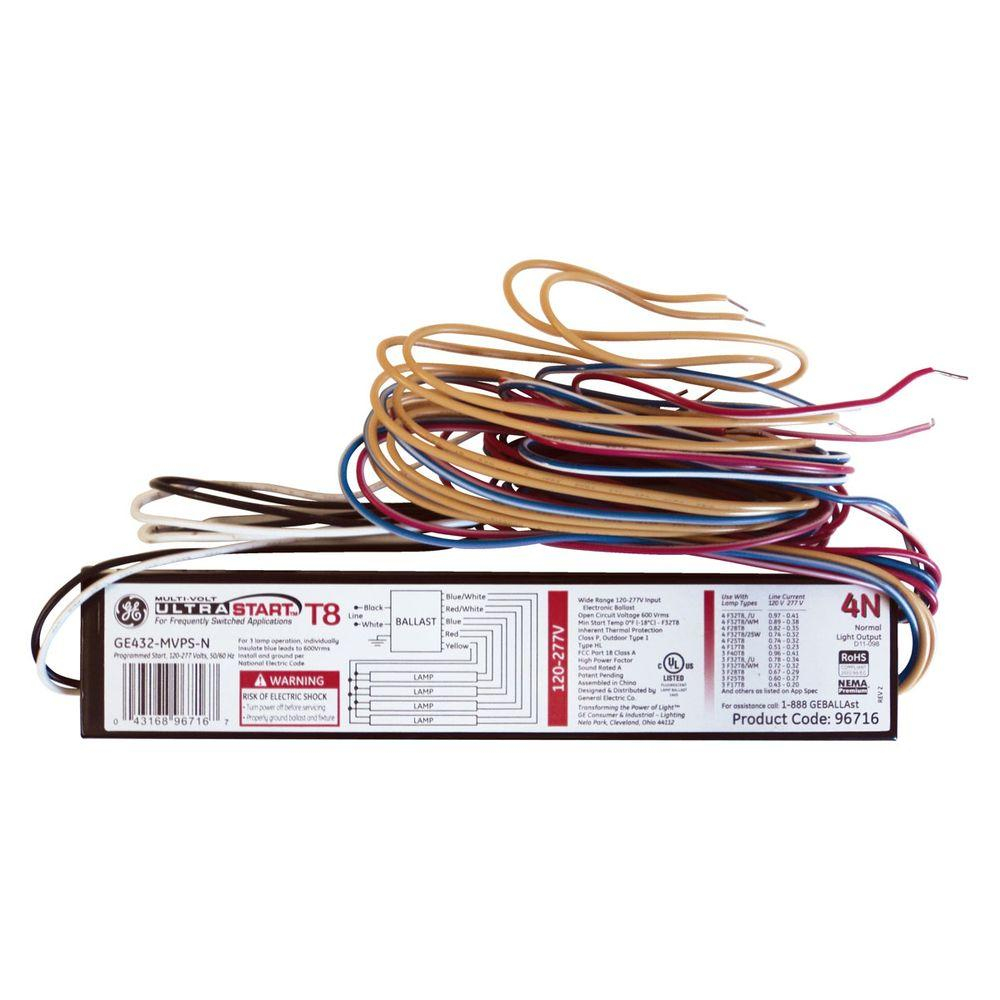 hight resolution of ge 120 to 277 volt electronic program start ballast for 4 ft 4 lamp 4