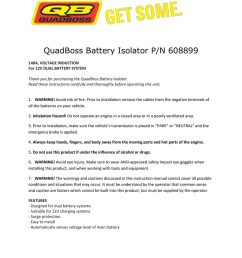quadboss battery isolator p n 608899 battery isolator wiring diagram [ 791 x 1024 Pixel ]