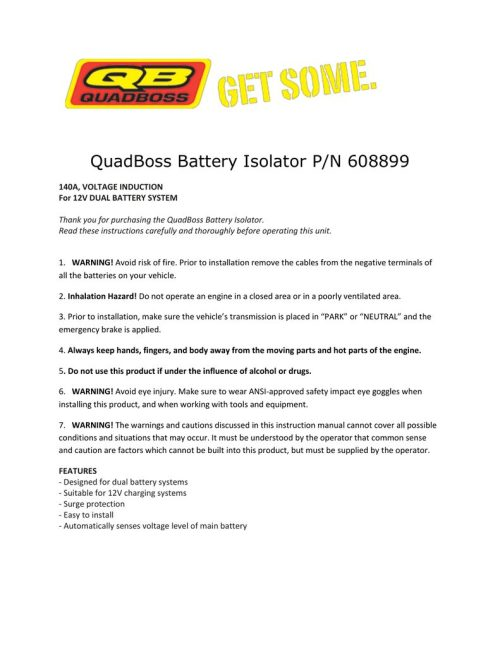 small resolution of  quadboss battery isolator p n 608899 battery isolator wiring diagram