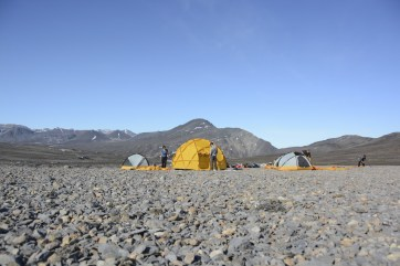 First setting up of camp shortly after arrival to the Purple Valley camp site.