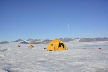 Milne Ice Shelf camp site on a nice and sunny day.