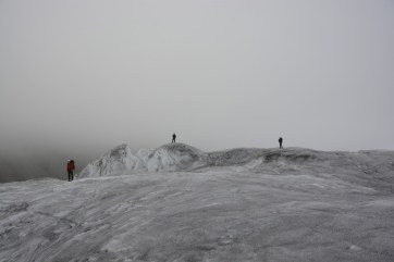 A dramatic shot of Jill, Kevin and Andrew on the way back from a long day of CTD profiling on the Milne Glacier.