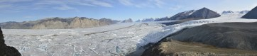 Panoramic shot of the Milne Glacier taken from the site of one of the time-lapse cameras.