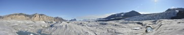 Panoramic shot taken near the Milne Glacier camp site. Tributary glacier seen to the right.