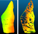 3D models generated from SfM-photogrammetry (right) and laser scanning (left) of the same ice island.