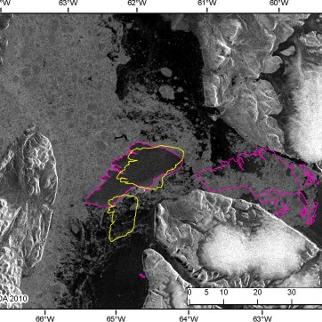 The original Petermann Ice Island in 2010 (pink), drifted out of Petermann Fiord and broke into two pieces (yellow) on Joe Island in Kennedy Channel, September 9, 2010. The CI2D3 database recorded the relationship between 'mother' (PII: 248 km2 as of September 9) and 'daughter' fragments, PII-A (85 km2) and PII-B (158 km2) to the south and north, respectively. Radarsat-2 data and products © MacDonald, Dettwiler and Associates Ltd., 2010 – All Rights Reserved.