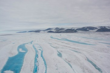 Outer extent of the Milne Ice Shelf as seen from the helicopter.