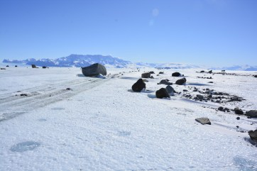 Morainal debris on the Nansen Ice Shelf (D.Mueller)