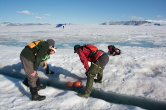 Looking for instruments that were deployed a year ago through the ice shelf (A. Garbo)