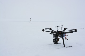 DJI S800 and Emlid Reach basestation waiting for the fog to lift in near Iqaluit (A.Garbo)