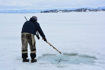 Our guide, Ted Irniq, moving the ice above a seal breathing hole, so as to obscure their vision when resurfacing. Location: Frobisher Bay. (A.Garbo)