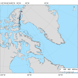 A map of the ice islands from the 2012 Petermann Glacier calving event. On July 17, 2012 150 km2 of ice calved from Petermann Glacier, northwest Greenland. By December 31, 2013, 7263 polygons were observed in 1538 images.