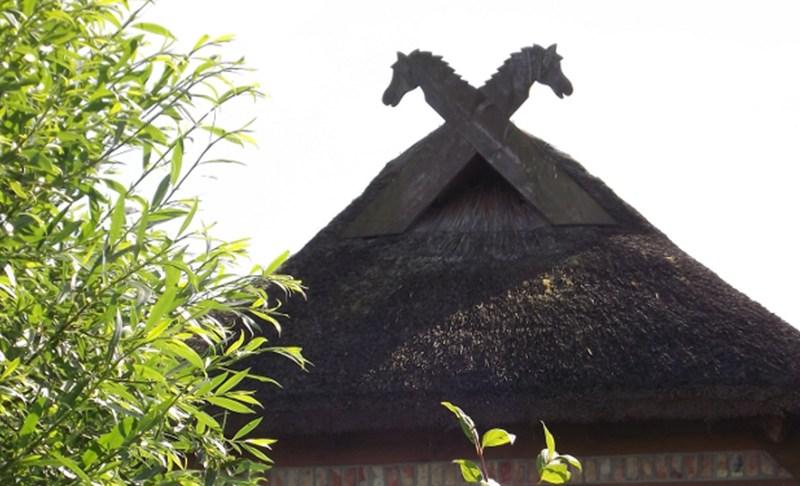Reetdächer, Eulenlöcher und Pferdeköpfe für Wotan
