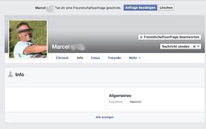 Screenshot von Marcels Facebookseite, Name und Gesicht verfremdet.