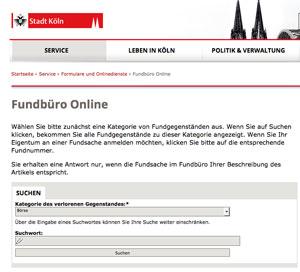 Screenshot des Onlinefundbüros der Stadt Köln