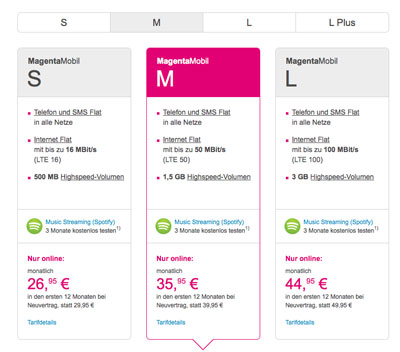 Screenshot Telekom-Seite