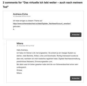 Kommentare unter Timos Blogbeitrag