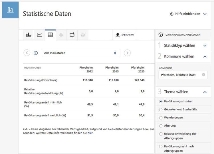 Statistik für Pforzheim