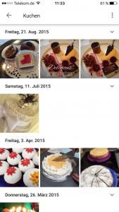 Google Foto App nach Kuchen durchsucht
