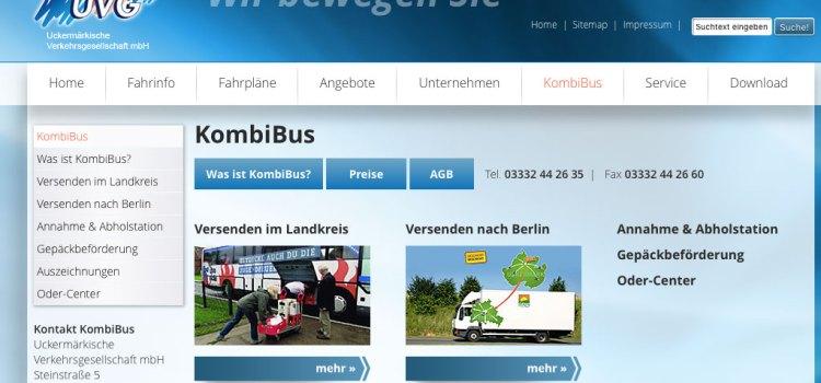 Screenshot Uckermärkische Verkehrsgesellschaft