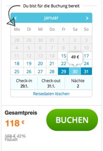 Zwei Nächte à 49 Euro = 118 Euro