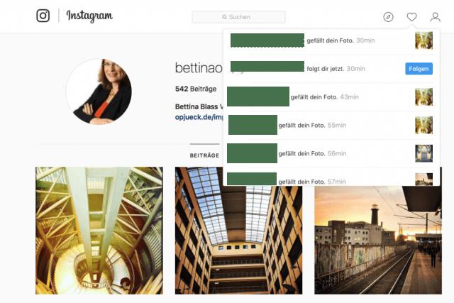 Neue Likes und Follower bei Instagram