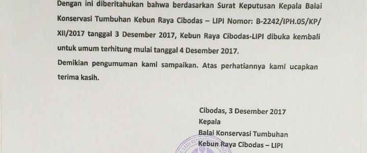 Mandalawangi Cibodas dan Kebun Raya Cibodas Kembali Dibuka untuk Umum 4 Desember 2018