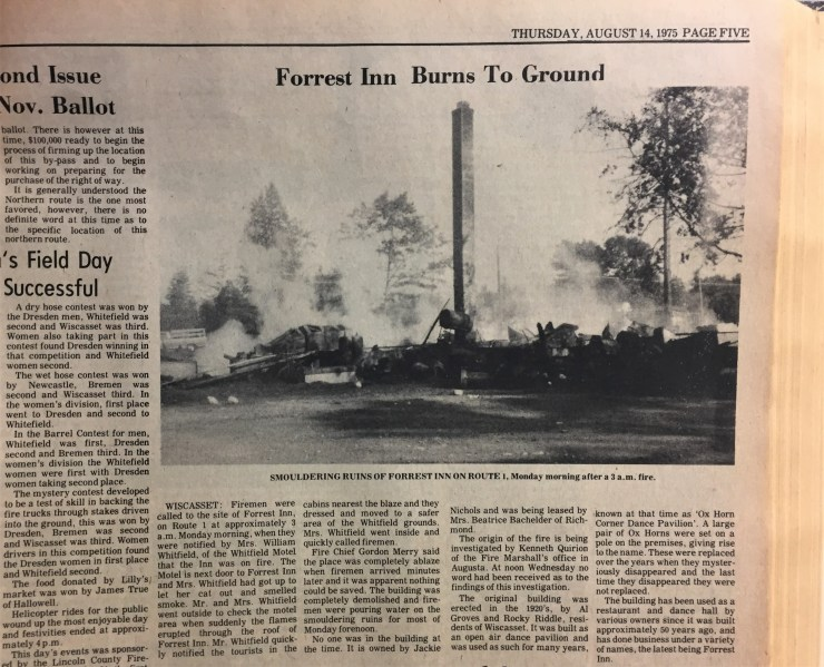 New clipping showing the smoulering ruins of Forrest Inn or the Bloody Bucket from 1975.