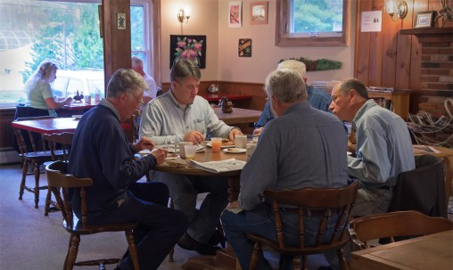 Guests enjoying our hot breakfast buffet at Wiscasset Woods Lodge